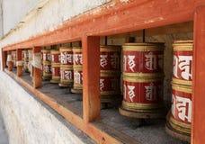 Den buddistiska mantraen rullar, Lamayuru, Ladakh, Indien Fotografering för Bildbyråer
