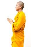 Den buddistiska munken, den buddistiska munken ger en predikan till peop Royaltyfria Foton