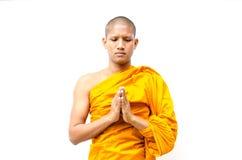 Den buddistiska munken, den buddistiska munken ger en predikan till peop Arkivfoto