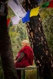 Den buddistiska nunnan på Kora går, McLeod Ganj, Indien Arkivfoton