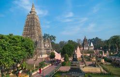 Den Budhagaya stupaen är nummer ett av buddismgränsmärket i Indien, nådde fram till insikten för stället Buddha, den Mahabodhi te royaltyfri bild