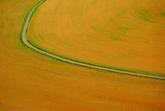 Den buktade vägen klipper fältet in i två halvor royaltyfria bilder