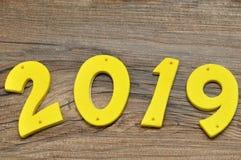 2019 in den bunten Zahlen Stockbild