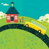 Den Bus fangen nach der Schule Stockfoto