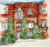 Den byggande teckningen skissar barns för illustrationen för blyertspennakonstdesignen detfärgade huset för tegelsten stock illustrationer