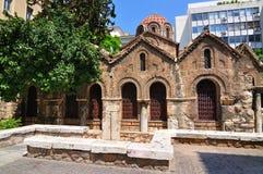 Den bysantinska kyrkan av Panaghia Kapnikarea Royaltyfria Bilder