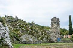 Den Bzyb tempel-fästningen av epoken av det Abkhazian kungariket, Arkivfoton