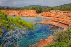 Den Caleta stranden i Ibiza, med dess röda jord Arkivfoton