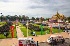Den Cambodja självständighetsdagen Royal Palace försilvrar pagoden Arkivfoton