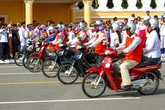 Den Cambodja självständighetsdagen Royal Palace försilvrar pagoden Arkivbilder