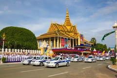 Den Cambodja självständighetsdagen Royal Palace försilvrar pagoden Arkivfoto