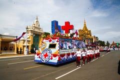 Den Cambodja självständighetsdagen Royal Palace försilvrar pagoden Arkivbild