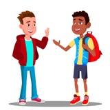 Den Caucasian pojken och svartpojken hälsar sig, kamratskapvektor multiracial Europeisk och afro- amerikan illustration royaltyfri illustrationer