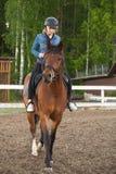 Den Caucasian tonårs- flickan rider en häst fotografering för bildbyråer