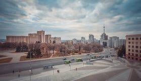 Den centrala fyrkanten av Kharkov Arkivfoto