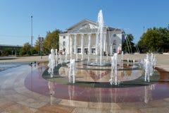 Den centrala fyrkanten av staden av Temryuk Royaltyfria Foton