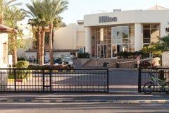 Den centrala ingången till Hilton Hotel i Sharm el Sheikh Foto som tas på November 03, 2016 arkivbilder