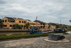 Den centrala promenaden i Hoi An Arkivbilder