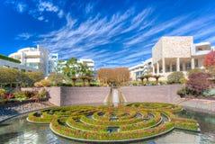 Den centrala trädgården på den Getty mitten i Los Angeles Arkivfoto