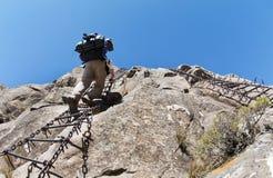 Den chain stegen, Drakensberg, Sydafrika royaltyfria bilder