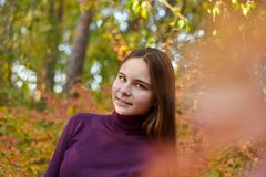 Den charmiga flickan i hösten parkerar arkivfoto