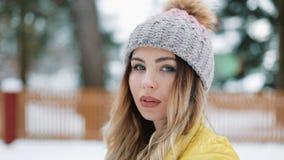 Den charmiga kvinnan med blåa ögon står i vinterhatt i skogen som täckas med snö Stående av att le att tycka om för flicka lager videofilmer