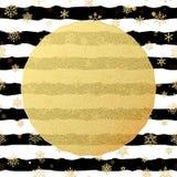 Den chic och lyxiga julvykortet med guld blänker foliehälsningkortet Svarta band, snöflingor, guld- blänka stock illustrationer