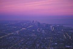 Den Chicago horisonten på gryning, Chicago, Illinois Fotografering för Bildbyråer