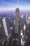 Den Chicago horisonten på soluppgång, Chicago, Illinois Arkivbilder