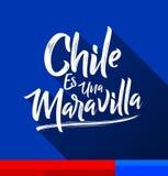 Den Chile es unaen Maravilla, Chile är en under, spansk text Stock Illustrationer