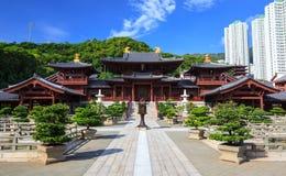 Den Chilin nunnekloster, Tangdynasti utformar det kinesiska tempelet, Hong Kong arkivfoto