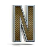 Den Chrome metallapelsinen prack stilsortsbokstav N 3D Arkivfoto