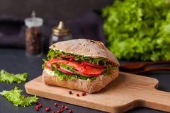 Den Ciabatta smörgåsen med laxen, grönsaker och ny sallad uppvaktar på arkivbild