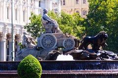 Den Cibeles springbrunnen på Madrid, Spanien Royaltyfria Foton