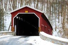 Den Colemansville täckte bron i vinter Fotografering för Bildbyråer