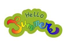Den Colorfull vektorhanden skissade Hello sommar stock illustrationer