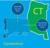 Den Connecticut 3D vektorn kartlägger grafiskt info Arkivbild