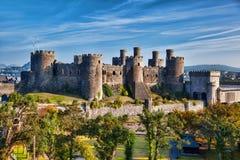 Den Conwy slotten i Wales, Förenade kungariket, serie av Walesh rockerar Royaltyfria Bilder