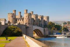 Den Conwy slotten i Wales, Förenade kungariket, serie av Walesh rockerar Fotografering för Bildbyråer