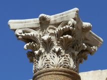 Den Corinthian chapiteren, Beit Shean, Israel arkivfoton