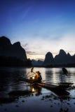 Den cormant fiskaren i lifloden Royaltyfri Foto