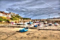 Den corniska hamnen Newquay norr Cornwall England UK gillar en målning i HDR Royaltyfria Foton