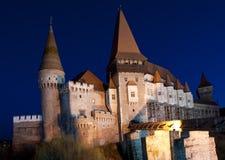 Den Corvin slotten av Hunedoara, Rumänien Arkivfoto