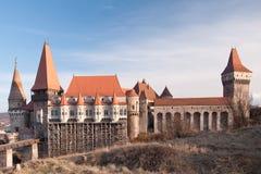 Den Corvin slotten av Hunedoara, Rumänien Arkivfoton