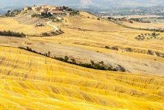 Den Crete senesien, kännetecken landskap i den Val d'Orciaen Royaltyfri Fotografi