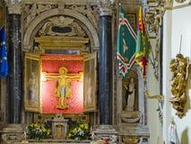 Den Crocifisso kyrkan i CasaSantuario di Santa Caterina. Siena Italien Royaltyfri Bild