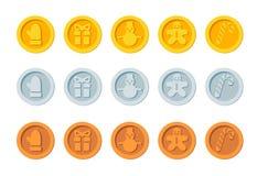 Den Cryptocurrency logoen ställde in för julmässor och marknader Övervintrar crypto valutajul för jultomten feriemynt för nytt år royaltyfri illustrationer