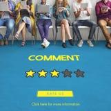 Den Customre återkopplingskommentaren röstar granskningresultatbegrepp arkivfoto