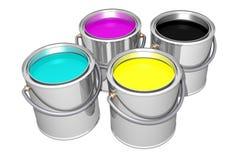 Den Cyan magentafärgade gulingsvarten målar cans (3D) vektor illustrationer
