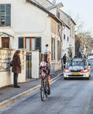 Den cyklistAndreas Klöden- Paris Nice prologen 2013 i Houille Arkivfoton